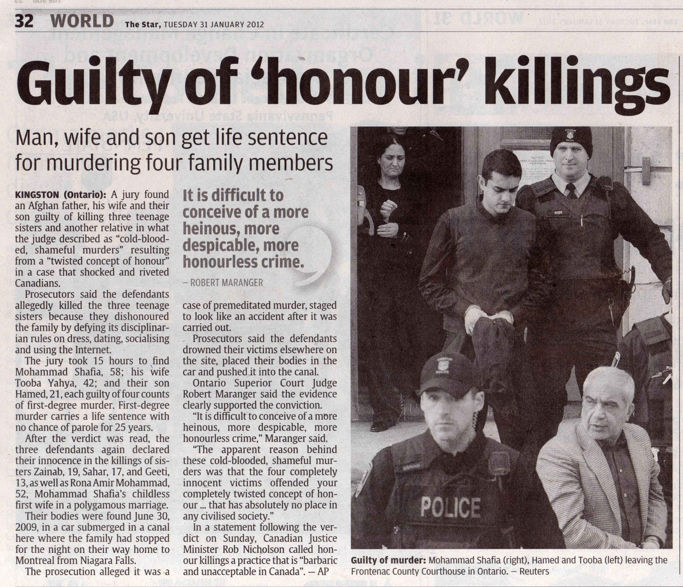 essay on dishonour killing