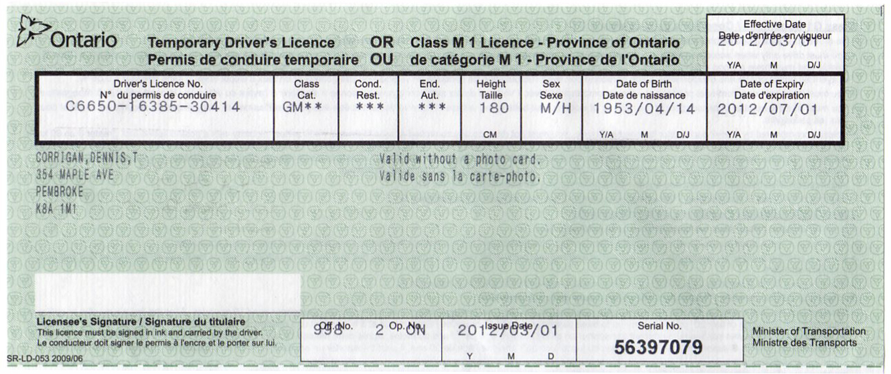 Ontario Temperary Driver on Porsche 911 Engine Serial Number Decoder