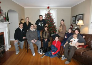 Family portrait in front of the Christmas tree, 2011 December 25