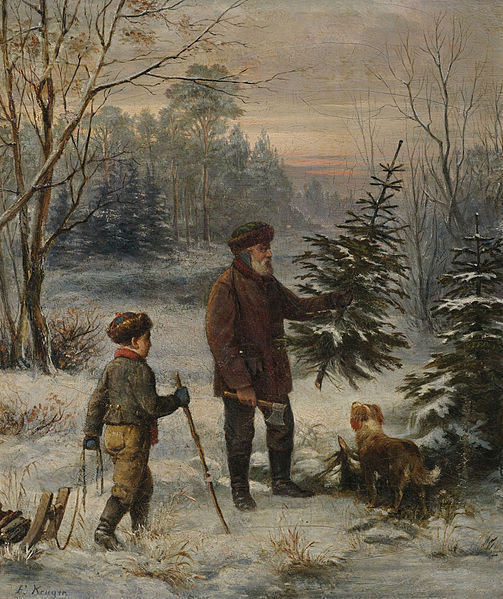 Father and Son with Christmas Tree19th Century by Franz Kruger
