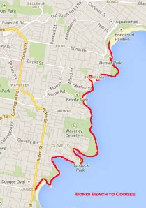 Bondi Beach to Coogee route map