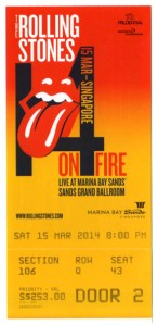 Rolling Stones 14 on fire ticket