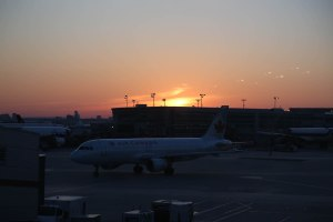 Arrival in Toronto at sunset and waiting for the final flight to Ottawa.